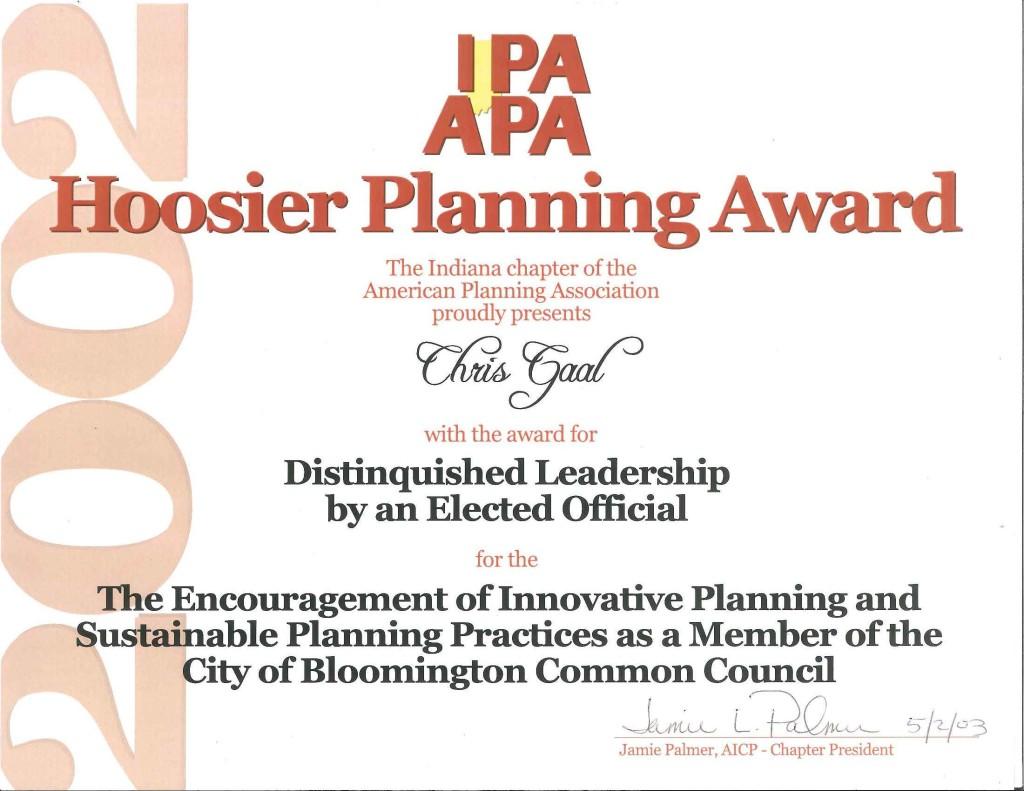 Indiana Planning Association Award
